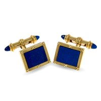 18k Yellow Gold Ribbon & Reed with Lapis Rectangular Cufflink