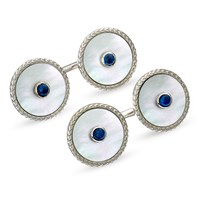 18k White Gold Cufflinks with Mother of Pearl and Sapphire