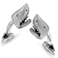 18k White Gold Shark Head Cufflinks