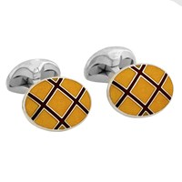 Sterling Silver Cufflinks with Yellow & Dark Red Lattice