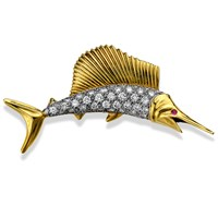 18k Gold Sailfish Pin with Diamonds & Cabochon Ruby Eyes