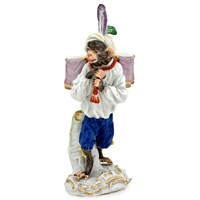Meissen Monkey Kettle Drum Carrier Figurine