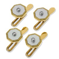 18k Gold Octagonal Studs with Diamond Center, Set of 4
