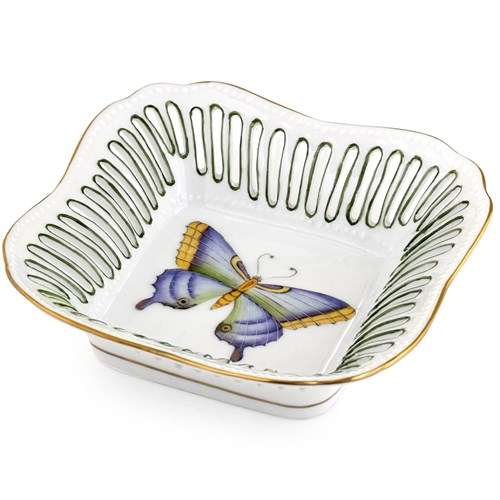 Anna Weatherley Small Square Dish Butterfly Green