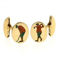 18k Gold Handpainted Golfer Cufflinks