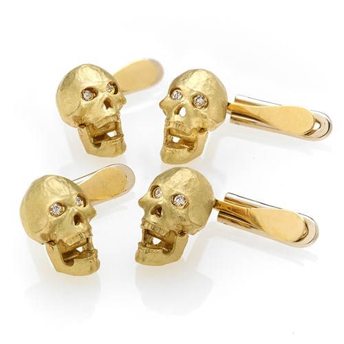 18k Yellow Gold Skull Studs with Diamond Eyes, Set of 4