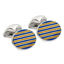 Sterling Silver Cufflinks with Stripes Enamel