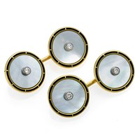 18k Gold Mother of Pearl, Black Enamel Cufflinks with Diamond Center