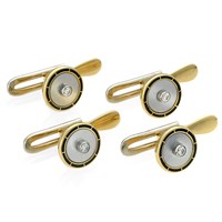 18k Gold Mother of Pearl Studs & Diamonds. Set of 4