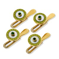 18k Gold Studs with Lime Enamel, Set of 4
