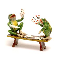 Austrian Bronze Two Frogs Playing Cards Figurine