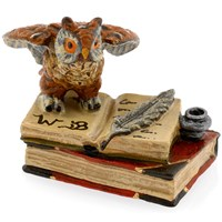 Austrian Bronze Owl on Books with Inkpot Figurine