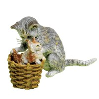 Austrian Bronze Cat with Kitten in Basket