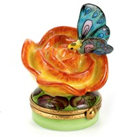 Orange Rose with Butterfly Limoges Box