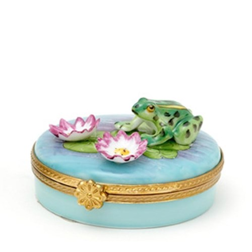 Frog & Two Water Lilies Limoges Box
