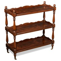 Mahogany Shelves with Brass Wheels