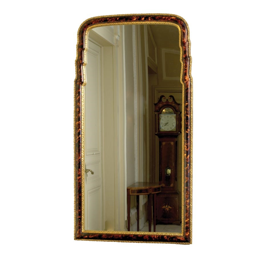 Queen Anne Faux Tortoise Mirror. Hover To Zoom
