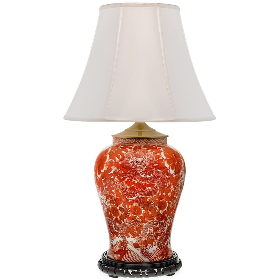 Orange dragon temple jar lamp table desk lamps lamps for Home decorators lamps