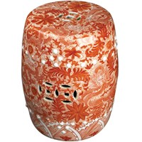 Orange Garden Stool with Dragon Motif