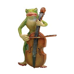 Austrian Bronze Large Frog Playing Bass Figurine