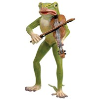 Austrian Bronze Large Frog Playing Violin Figurine