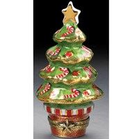 Christmas Tree with Candy Canes Holiday Limoges Box