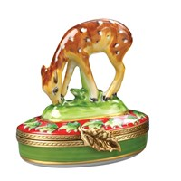 Christmas Fawn with Leaves Limoges Box