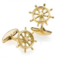 Ship's Wheel Cufflinks 18k YG