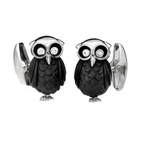 Carved Onyx Owl Cufflinks with Diamond Eyes