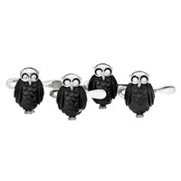Carved Black Owl Studs Dia Eyes S/4
