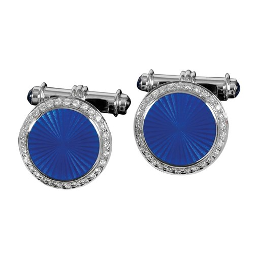18k Gold Enamel Cufflinks with Sapphires and Diamonds