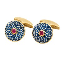 Big Ben Blue Cufflinks with Rubies