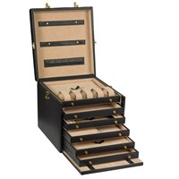 Jewelry Case with Six Drawers, Black