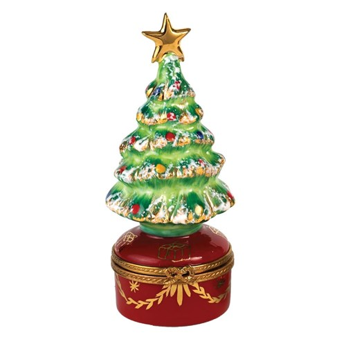 Christmas Tree on Red Base Limoges Box