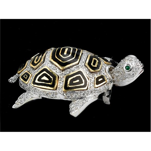 18K White Gold and Diamond Turtle Pin