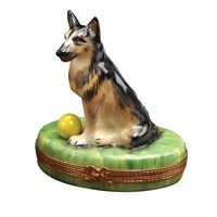 German Shepherd with Ball Limoges Box