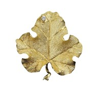 Large Leaf Pin with Diamond (.05 ct)