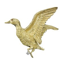 Flying Duck Pin Yellow Gold with Ruby Eyes and Diamond