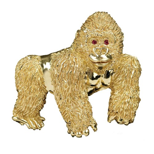 18k Yellow Gold Gorilla Pin with Ruby Eyes