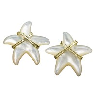 Mother of Pearl & YG Starfish Earrings