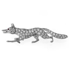 18k White Gold Fox Pin