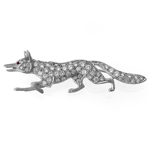 18k White Gold Fox Pin with Diamonds