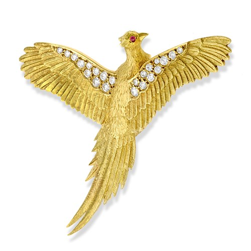 18k Gold Pheasant Pin with Diamonds