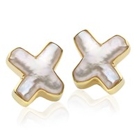 18K YG Pearl Cross Earrings Clips