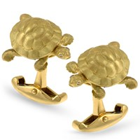 18k Gold Tortoise Cufflinks with Diamond Eyes