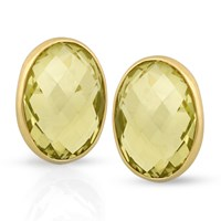 18k Lemon Citrine Earrings with Checker Board Pattern