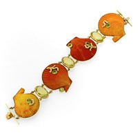 18k Gold Orange Scallop Shell Bracelet with Citrine