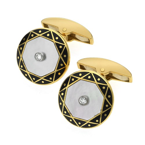 18k Gold Cufflinks with Black Enamel, Mother of Pearl, & Diamonds