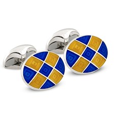 Sterling Silver Cufflinks with Royal Blue & Yellow Checks