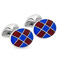 Maroon & Navy Checked Sterling Silver Cufflinks